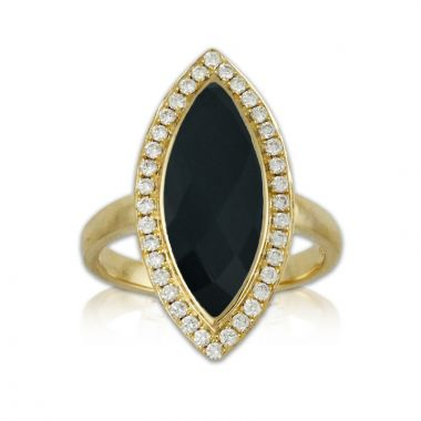 Doves 18k Yellow Gold Gatsby Onyx Ring