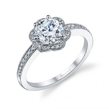 0.20tw Semi-Mount Engagement Ring With 1ct Round Head