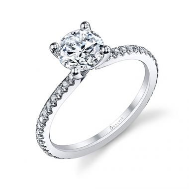 0.21tw Semi-Mount Engagement Ring With 1ct Round Head