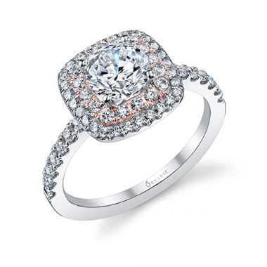 0.55tw Semi-Mount Engagement Ring With 1ct Round/Cushion Halo Two Tone