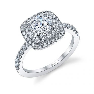 0.55tw Semi-Mount Engagement Ring With 1ct Round/Cushion Halo