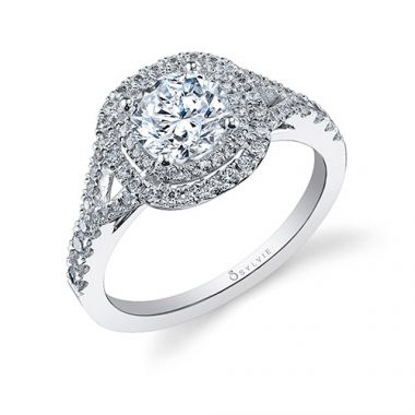 0.46tw Semi-Mount Engagement Ring With 1ct Round/Cushion Halo
