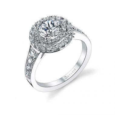 0.95tw Semi-Mount Engagement Ring With 1ct Round Head