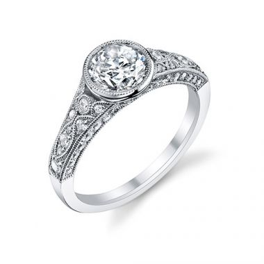 0.54tw Semi-Mount Engagement Ring With 1ct Round Head