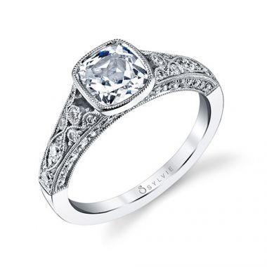 0.54tw Semi-Mount Engagement Ring With 1.25ct Cushion Head