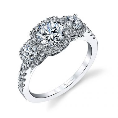 0.90tw Semi-Mount Engagement Ring With 1ct Round Head