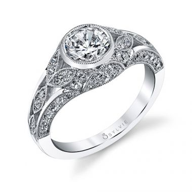 0.69tw Semi-Mount Engagement Ring With 1ct Round Head