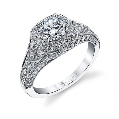 1.19tw Semi-Mount Engagement Ring With 1ct Round Head