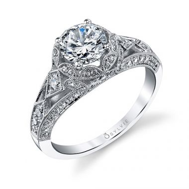 0.64tw Semi-Mount Engagement Ring With 1ct Round Head