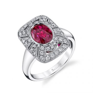 2.14tw Semi-Mount Engagement Ring With 1.58ct Oval Ruby 14W