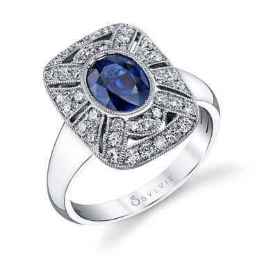 2.08tw Semi-Mount Engagement Ring With 1.51ct Oval Blue Sapphire