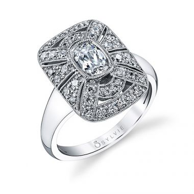 0.57tw Semi-Mount Engagement Ring With 3/4ct Cushion Head