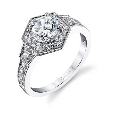 0.58tw Semi-Mount Engagement Ring With 1ct Round Head