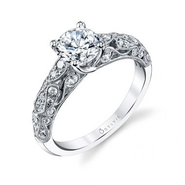 0.41tw Semi-Mount Engagement Ring With 1ct Round Head