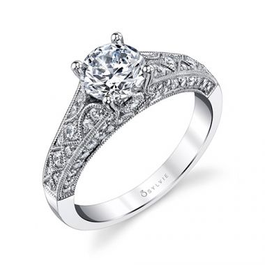 0.51tw Semi-Mount Engagement Ring With 1ct Round Head
