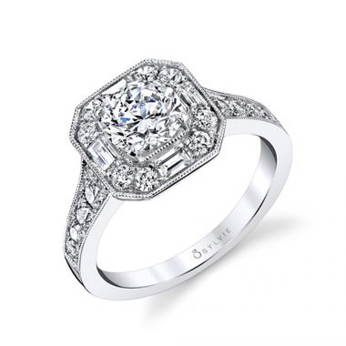 0.90tw Semi-Mount Engagement Ring With 1ct Round/Emerald-0.35Bag
