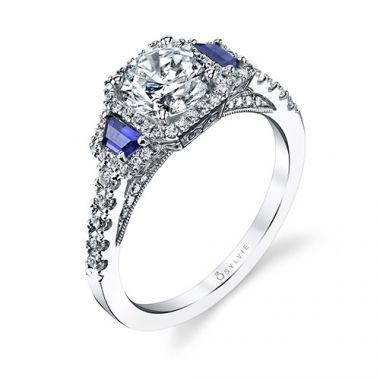 0.74tw Semi-Mount Engagement Ring 1ct Round/Cushion