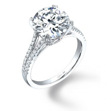 0.33tw Semi-Mount Engagement Ring With 1ct Round Head