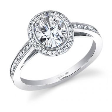 0.33tw Semi-Mount Engagement Ring With 7X5 Oval Head
