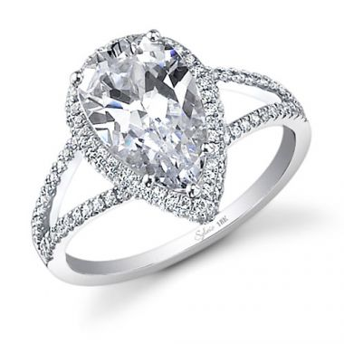 0.35tw Semi-Mount Engagement Ring With 3ct Pear Head