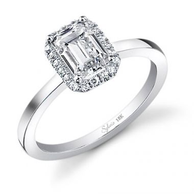0.28tw Semi-Mount Engagement Ring With 1.25ct Emerald Head