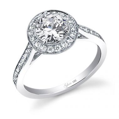 0.35tw Semi-Mount Engagement Ring With  3/4ct Round Head