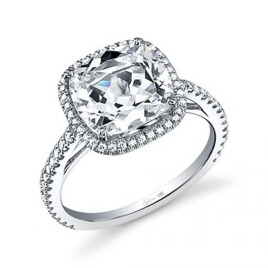 0.47tw Semi-Mount Engagement Ring With 5ct Cushion Head