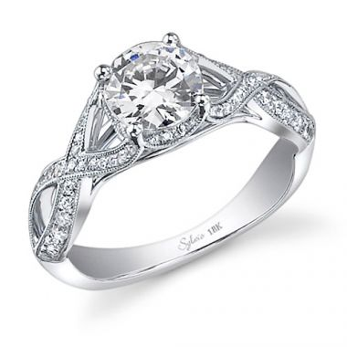 0.38tw Semi-Mount Engagement Ring With  1ct Round Head