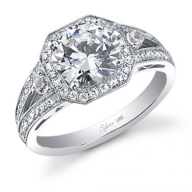 0.45tw Semi-Mount Engagement Ring With 2ct Round Head