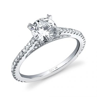 0.31tw Semi-Mount Engagement Ring With 1ct Round Head
