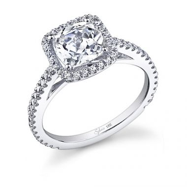 0.29tw Semi-Mount Engagement Ring With 1ct Round/Cushion Halo *1/2