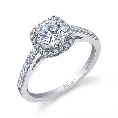 0.41tw Semi-Mount Engagement Ring With 6X5 Cushion Head