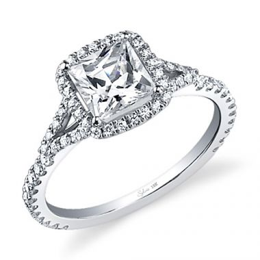 0.39tw Semi-Mount Engagement Ring With 1ct Princess Head
