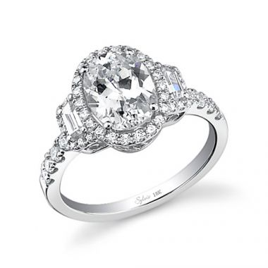0.66tw Semi-Mount Engagement Ring With 2ct Oval Head
