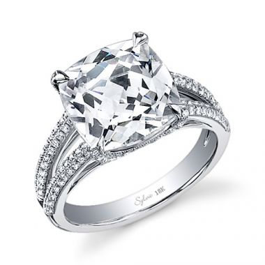 0.49tw Semi-Mount Engagement Ring With 4ct Round Head