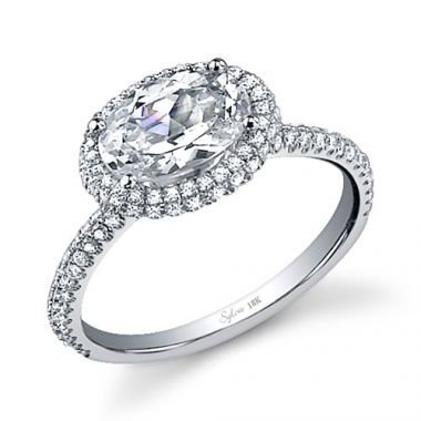 0.51tw Semi-Mount Engagement Ring With 7.5X5 Oval Head