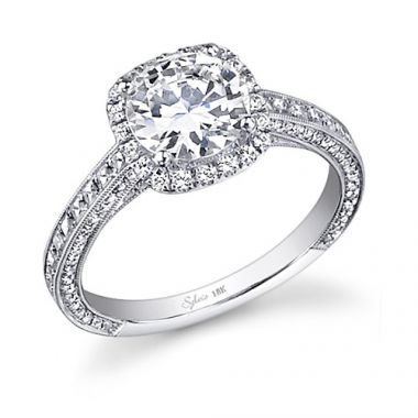 0.73tw Semi-Mount Engagement Ring With 1.5ct Head 3/4 Way