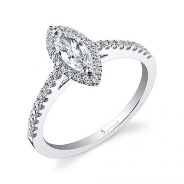 0.26tw Semi-Mount Engagement Ring With 1/2ct Marquise Head