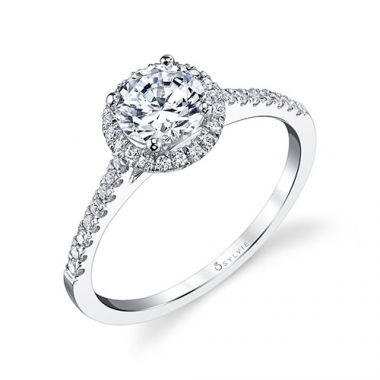 0.24tw Semi-Mount Engagement Ring With 3/4ct Round Head