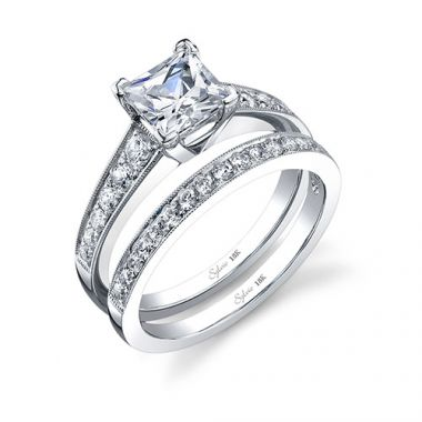 0.34tw Semi-Mount Engagement Ring With 1ct Princess Head