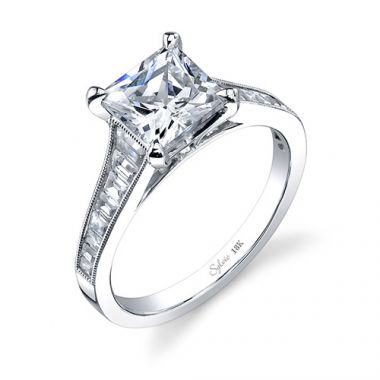 0.67tw Semi-Mount Engagement Ring With 2ct Princess Head