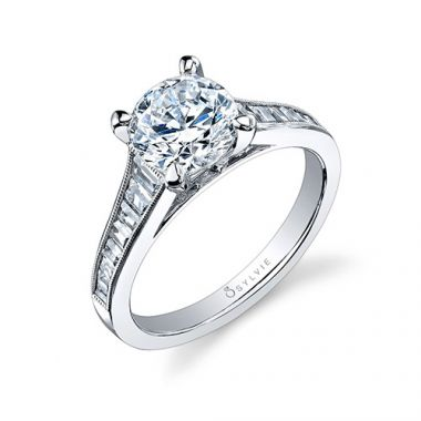 0.66tw Semi-Mount Engagement Ring With 1.50ct Round