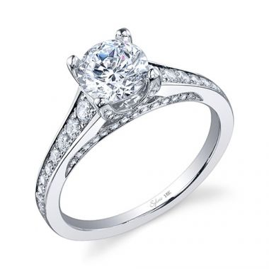 0.49tw Semi-Mount Engagement Ring With 1ct Round Head