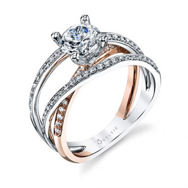 0.40tw Semi-Mount Engagement Ring With 1ct Round Head Two Tone