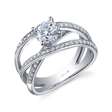 0.40tw Semi-Mount Engagement Ring With 0.90ct Round Head