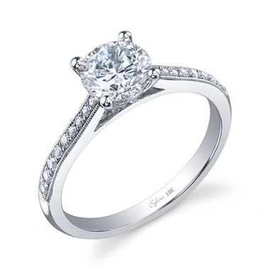 0.13tw Semi-Mount Engagement Ring With 1ct Round Head