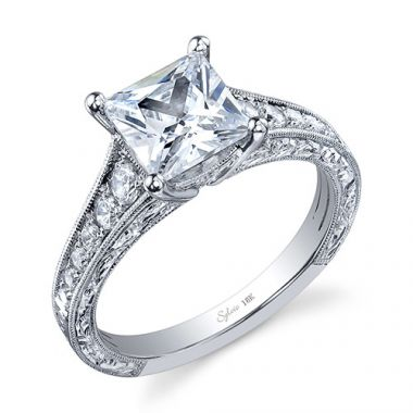 0.36tw Semi-Mount Engagement Ring With 2ct Princess Head