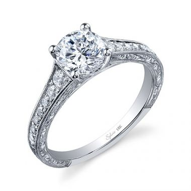 0.28tw Semi-Mount Engagement Ring With 1ct Round Head