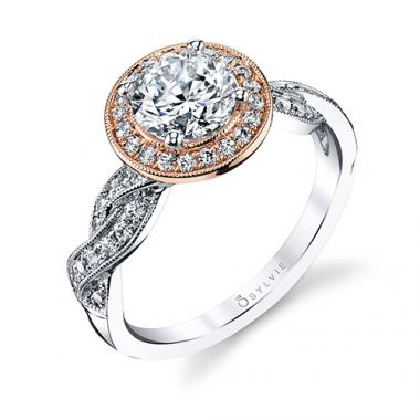 0.36tw EngagEmeraldet Ring With 1ct Round Head Two Tone