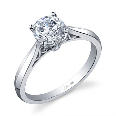 0.03tw Semi-Mount Engagement Ring With 1ct Round Head